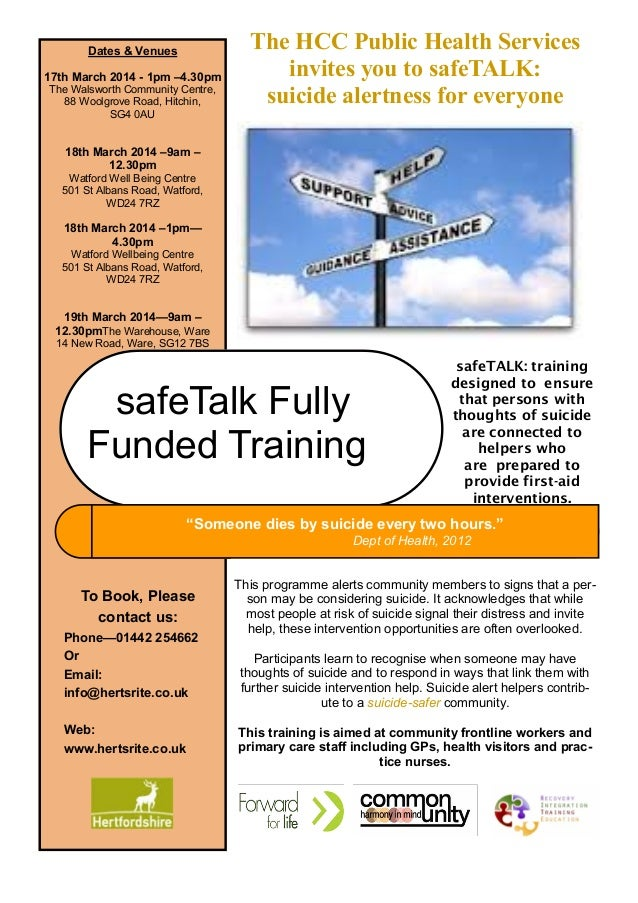 Dates & Venues 17th March 2014 - 1pm –4.30pm The Walsworth Community Centre, 88 Woolgrove Road, Hitchin, SG4 0AU  The HCC ...