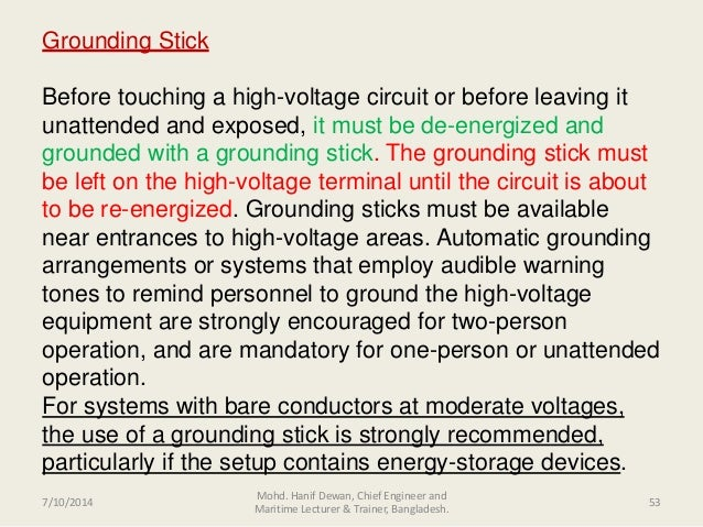 High Voltage Grounding Stick : Shipboard high voltage safeties applications