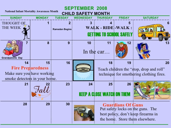 Kids Safety Calendar : Safety calendar