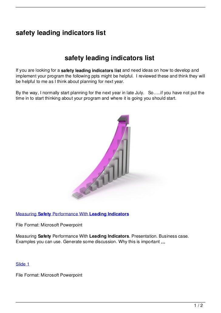 List of leading indicators trading'
