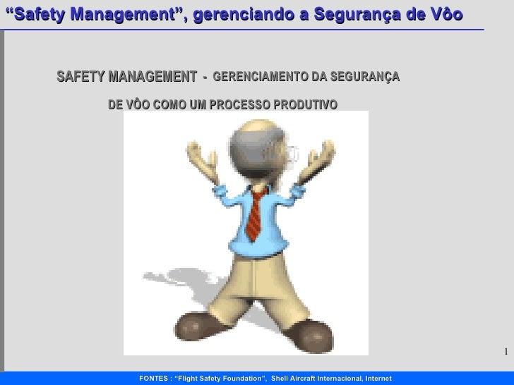 SAFETY MANAGEMENT   -  GERENCIAMENTO DA SEGURANÇA    DE VÔO COMO UM PROCESSO PRODUTIVO