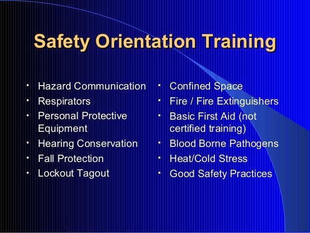 Safety orientation-training