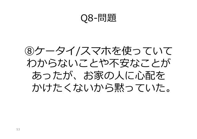 Q8-‐‑‒問題  ⑧ケータイ/スマホを使っていて わからないことや不不安なことが あったが、お家の⼈人に⼼心配を かけたくないから黙っていた。  53