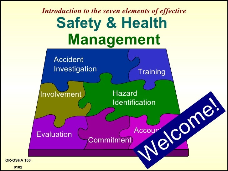 Introduction to the seven elements of effective Safety & Health  Management Welcome! OR-OSHA 100 0102