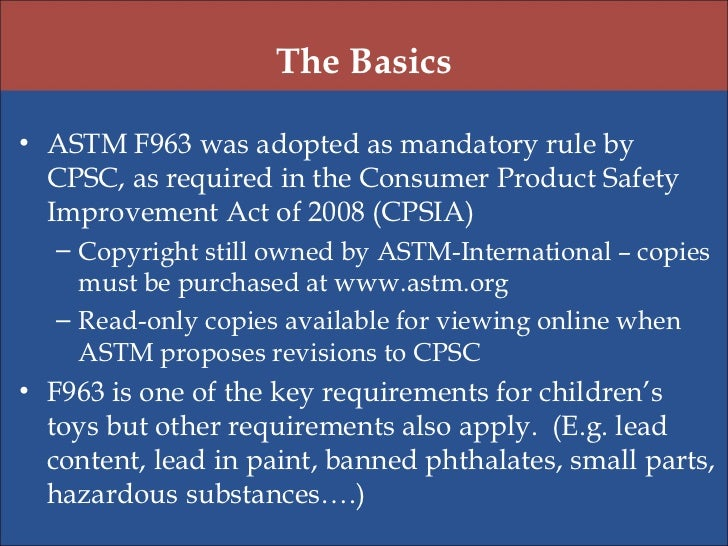 2012 cpsc safety academy astm f963 toy safety standard for When was lead paint banned