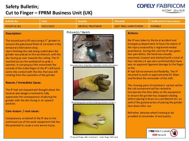Safety Bulletin; Cut to Finger – FPRM Business Unit (UK) Bulletin No  Date  Severity  Potential  Likelihood of reoccurrenc...