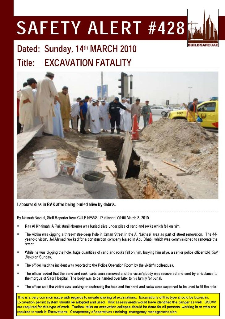 Safety alert excavation fatality for Incident alert template