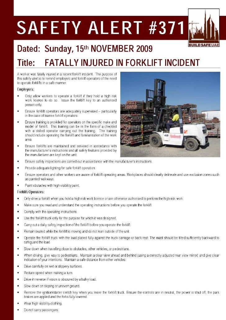 Safety alert fatally injured in forklift incident for Incident alert template
