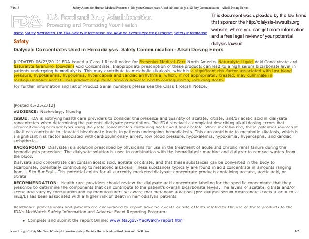 7/16/13 Safety Alerts for Human Medical Products > Dialysate Concentrates Used in Hemodialysis: Safety Communication - Alk...