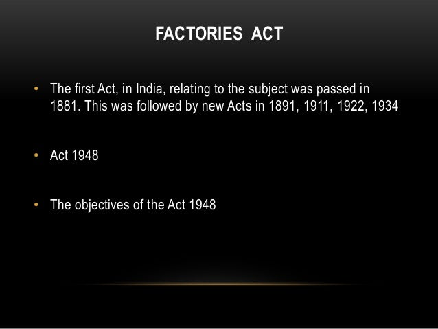 factories act 1961 summary