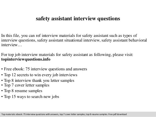 Safety assistant interview questions