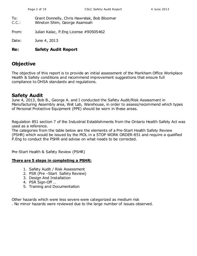 Workplace Safety Audit Reportaudit Report. Annual Internal Audit