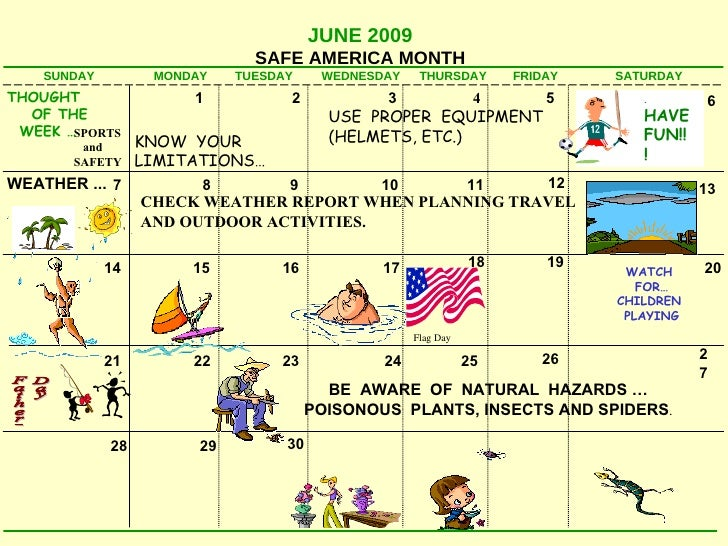 Safety Calendar Ideas : Safety calendar