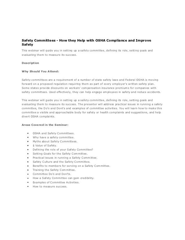 Federal OSHA Compliance and Safety Laws with Safety Committees