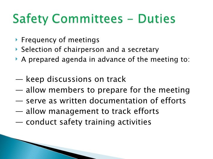 Safety committees duties 1 for Health and safety committee meeting agenda template