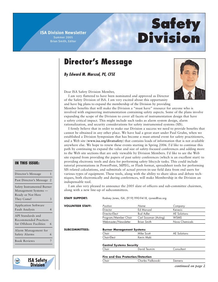 ISA Division Newsletter                                                                                         Safety    ...