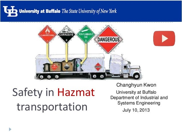 Safety in Hazmat transportation Changhyun Kwon University at Buffalo Department of Industrial and Systems Engineering July...