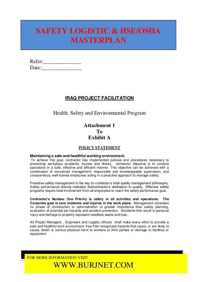 SAFETY LOGISTIC & HSE/OSHA           MASTERPLAN Refer:______________ Date:_______________                        IRAQ PROJ...