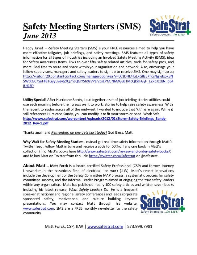 Safety Meeting Starters (SMS)June 2013Happy June! - -Safety Meeting Starters (SMS) is your FREE resources aimed to help yo...