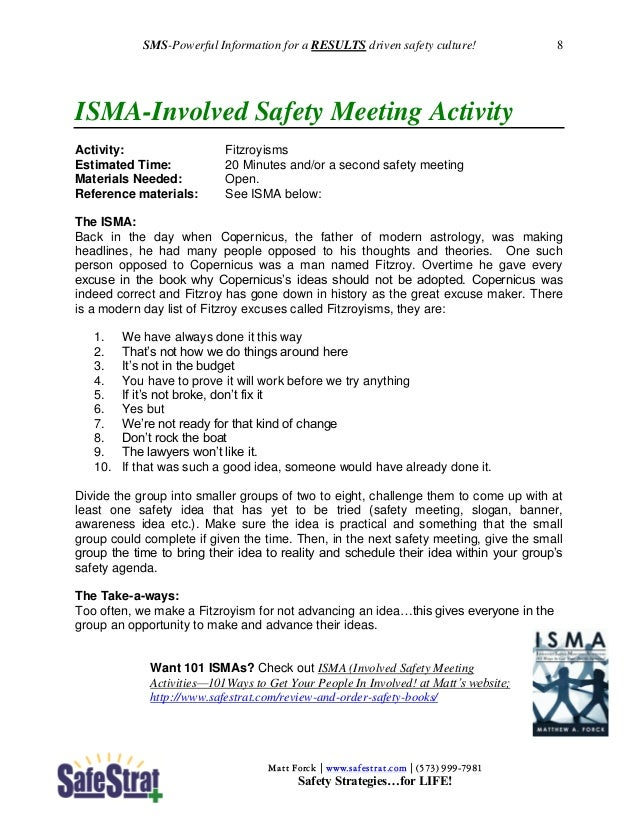 One minute safety meeting