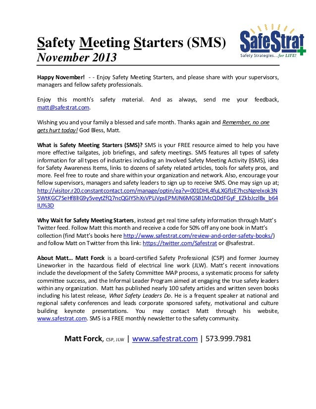 Safety Meeting Starters (SMS) November 2013 Happy November! - - Enjoy Safety Meeting Starters, and please share with your ...