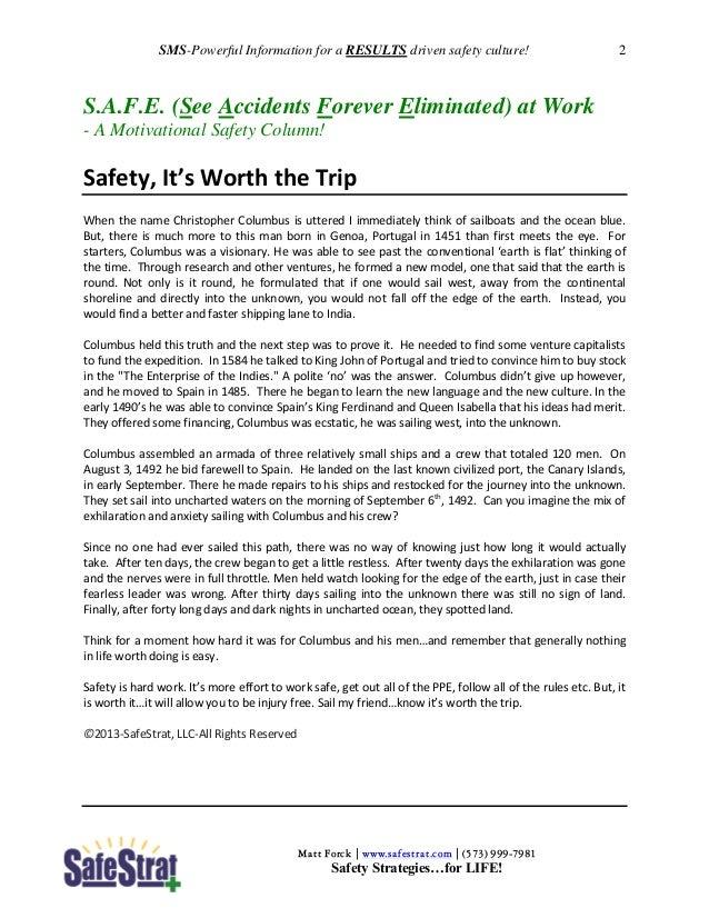 Safety Meeting Starters (SMS) Sept 2013 Slide 2