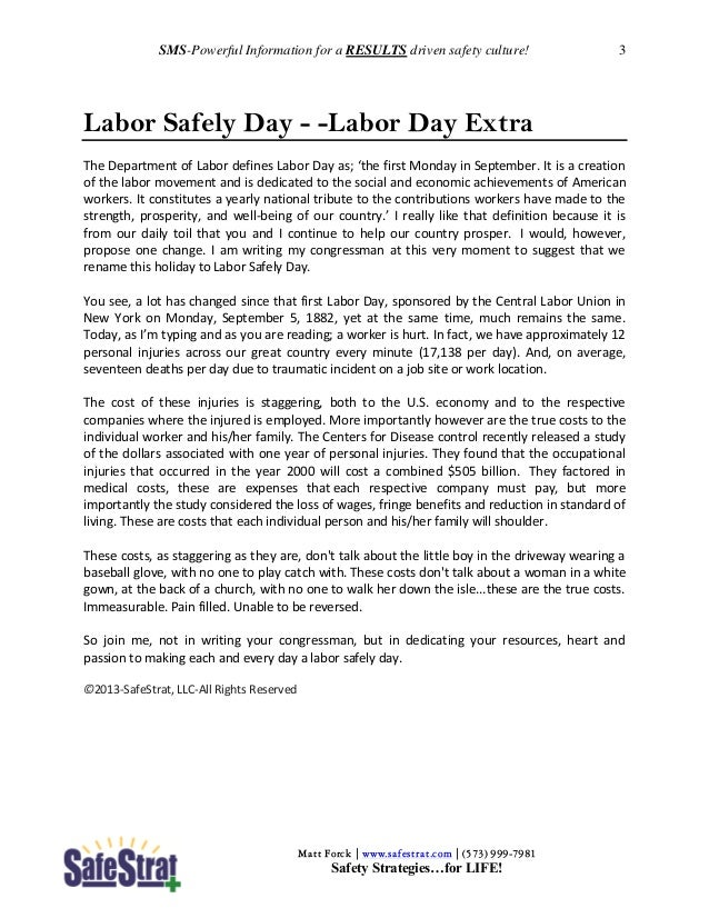 Safety Meeting Starters (SMS) Sept 2013 Slide 3