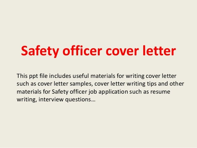 Safety Officer Cover Letter Examples