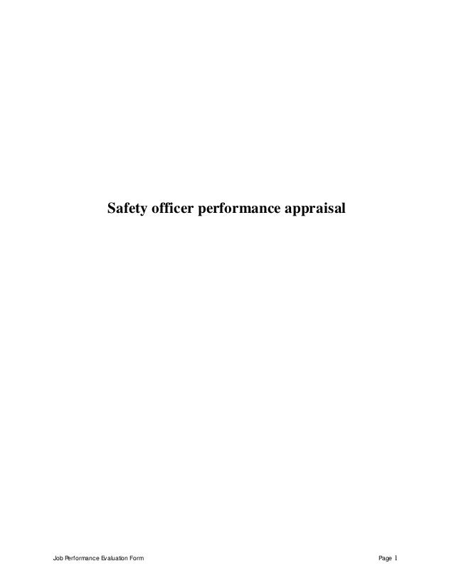 Job Performance Evaluation Form Page 1 Safety officer performance appraisal