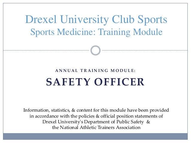 Drexel Club Sports Safety Officer Training Module