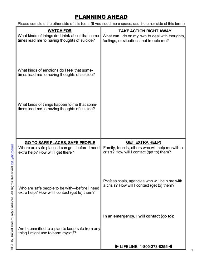 safety plan suicidal ideation template - safety planning for suicide risk