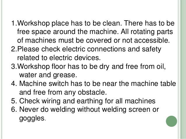 safety precautions in workshop pdf