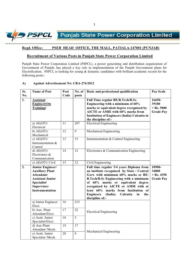 1Regd. Office:          PSEB HEAD OFFICE, THE MALL, PATIALA-147001 (PUNJAB)     Recruitment of Various Posts in Punjab Sta...