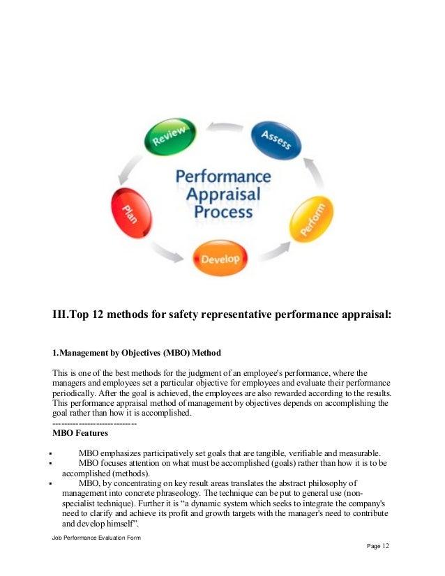 Safety representative performance appraisal