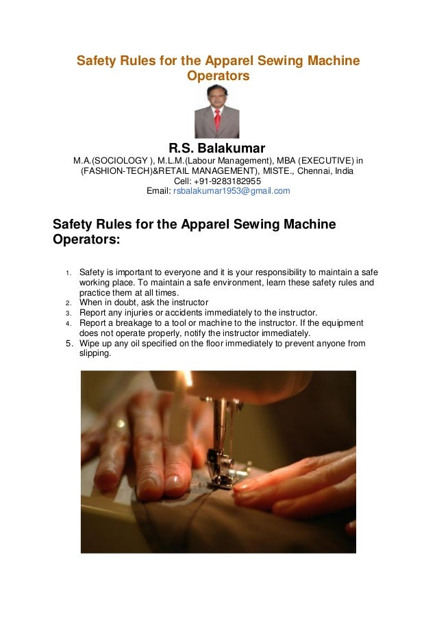 Safety Rules For The Apparel Sewing Machine Operators Unique Sewing Machine Health And Safety Poster