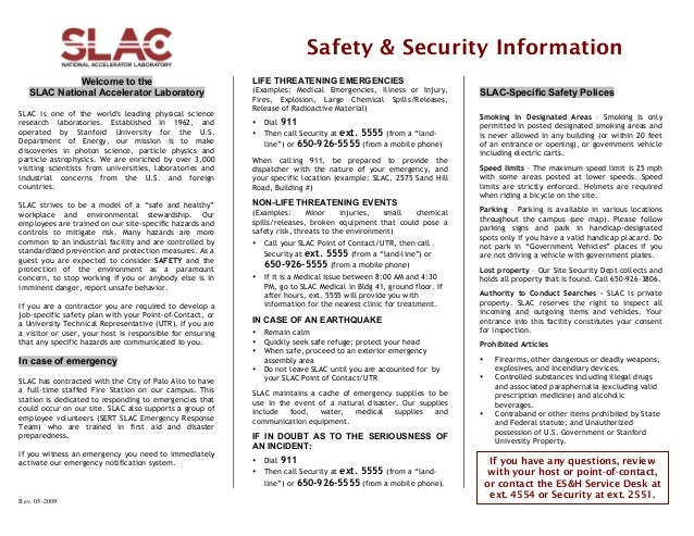 Safety & Security Information Welcome to the SLAC National Accelerator Laboratory SLAC is one of the world's leading physi...