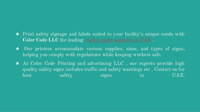 Safety Signs Suppliers In UAE By Color Code LLC
