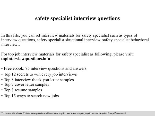 Safety specialist interview questions