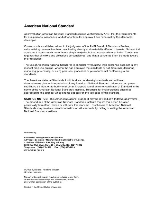 Safety Standard For Horizontal Carousel Material Handling And Associ