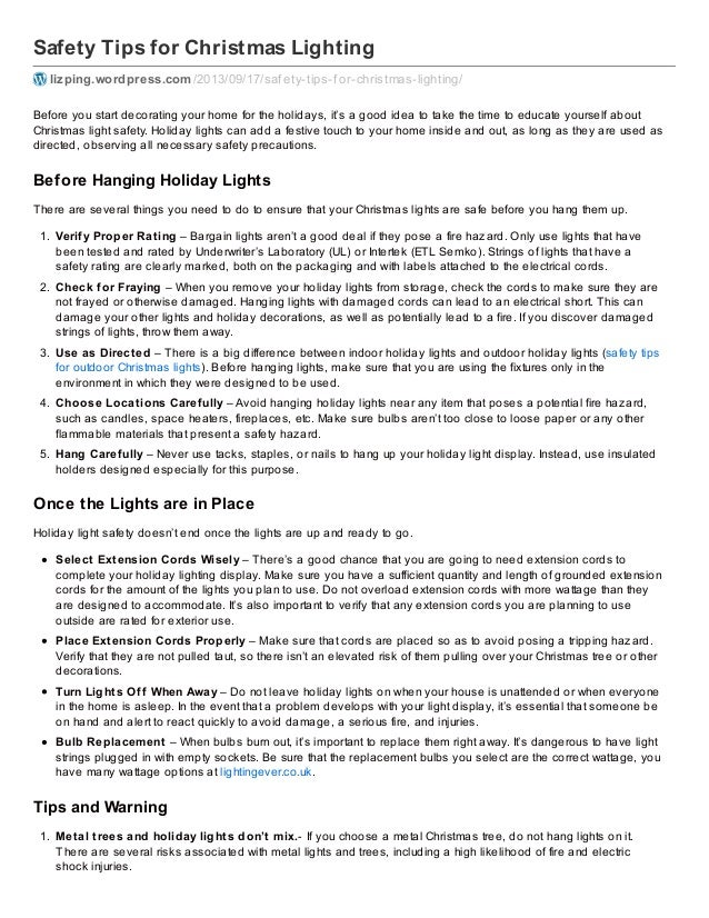 Safety Tips for Hanging Christmas Lights