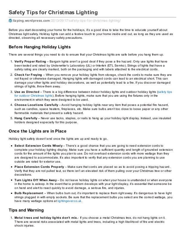 Safety Tips for Christmas Lighting lizping.wordpress.com/2013/09/17 ...  sc 1 st  SlideShare & Safety Tips for Hanging Christmas Lights