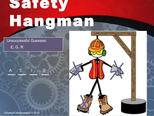Safety Hangman Unsuccessful Guesses: E, G, R A DC I ©SafetyFUNdamentals™ 2013