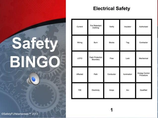 Safety BINGO ©SafetyFUNdamentals™ 2013