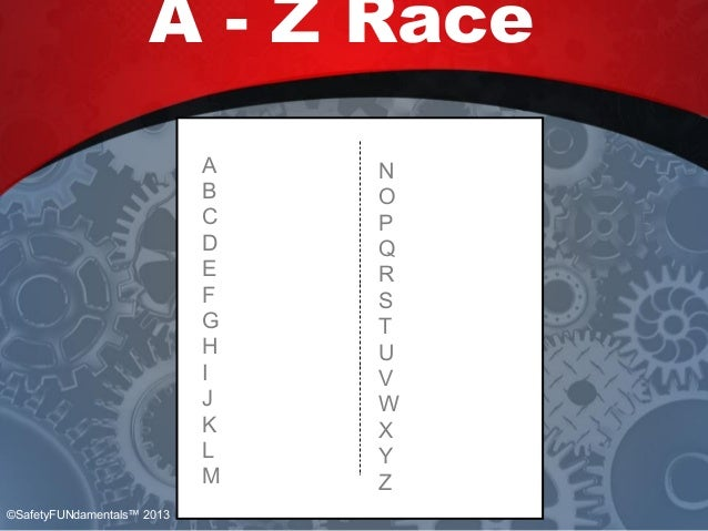 A B C D E F G H I J K L M N O P Q R S T U V W X Y Z A - Z Race A B C D E F G H I J K L M N O P Q R S T U V W X Y Z ©Safety...