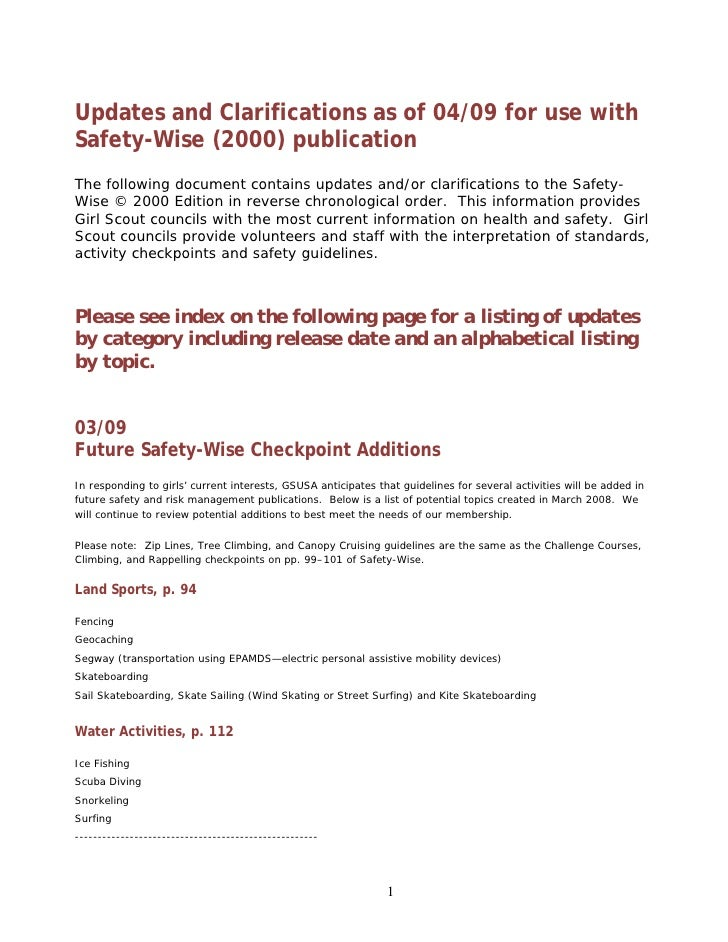Updates and Clarifications as of 04/09 for use with Safety-Wise (2000) publication The following document contains updates...