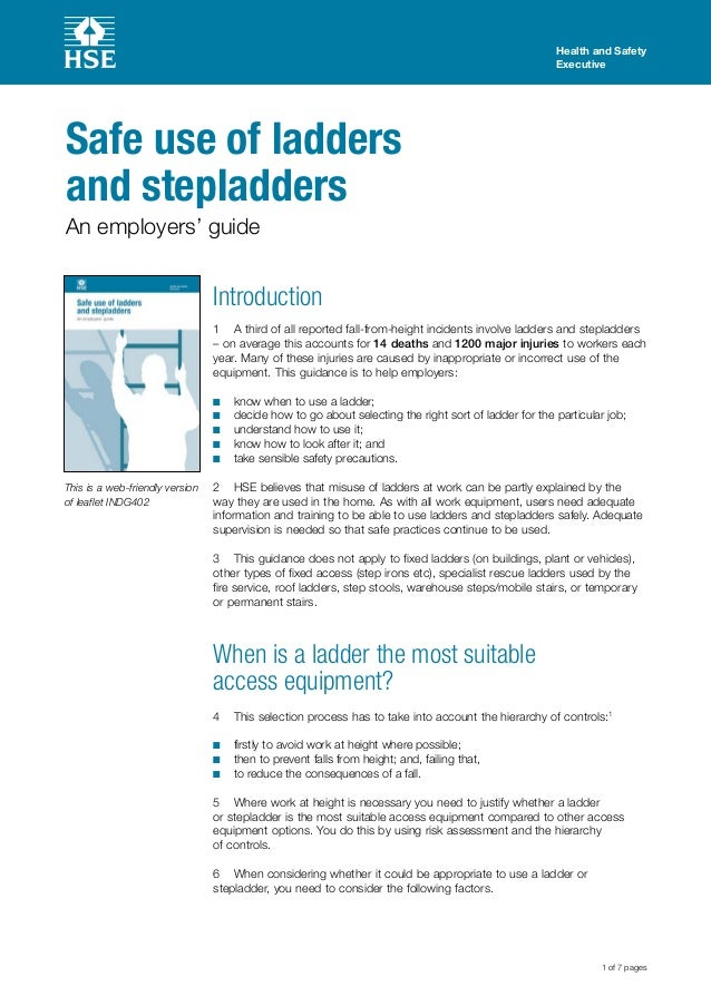 Health and Safety Executive 1 of 7 pages Safe use of ladders and stepladders An employers' guide This is a web-friendly ve...