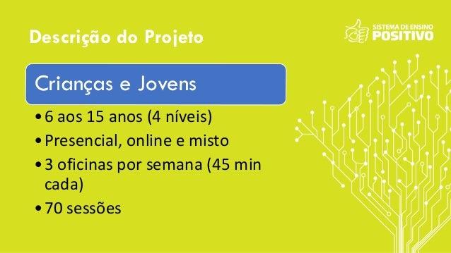 Descrição do Projeto Crianças e Jovens •6 aos 15 anos (4 níveis) •Presencial, online e misto •3 oficinas por semana (45 mi...