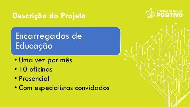 Descrição do Projeto Encarregados de Educação • Uma vez por mês • 10 oficinas • Presencial • Com especialistas convidados