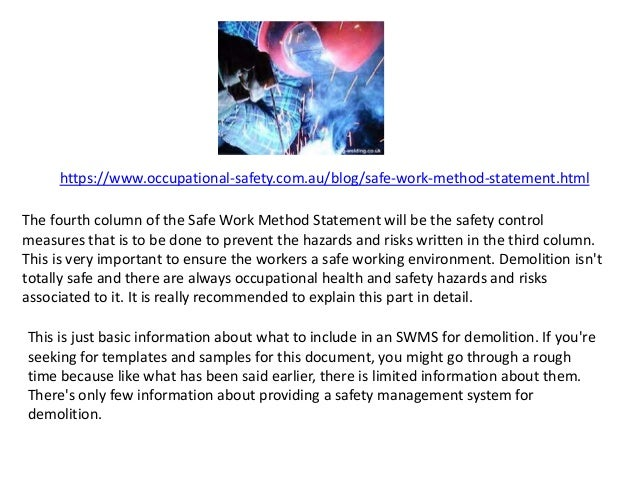 Doc996488 Health and Safety Method Statement Template Safe – Safe Work Method Statements Templates