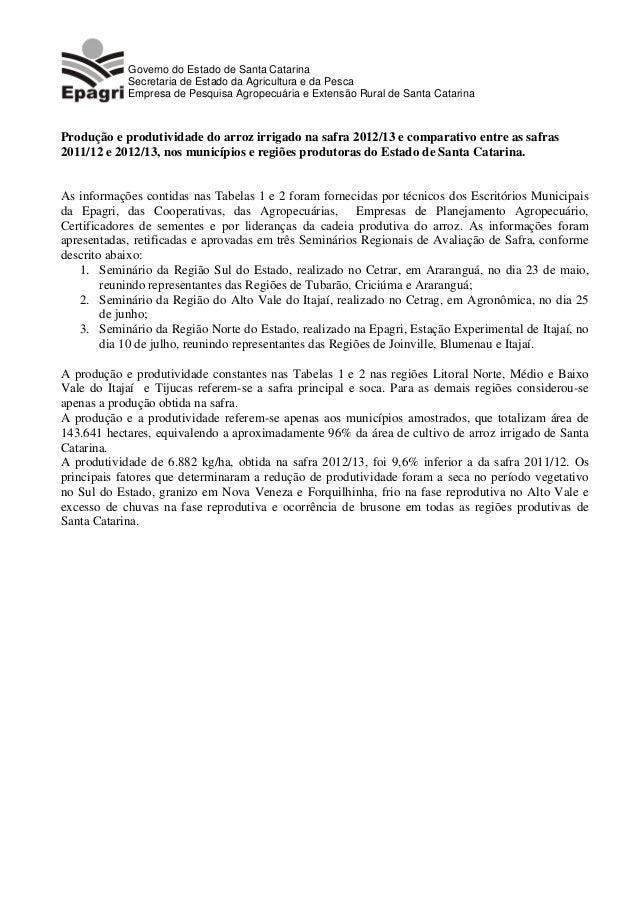 Governo do Estado de Santa Catarina Secretaria de Estado da Agricultura e da Pesca Empresa de Pesquisa Agropecuária e Exte...